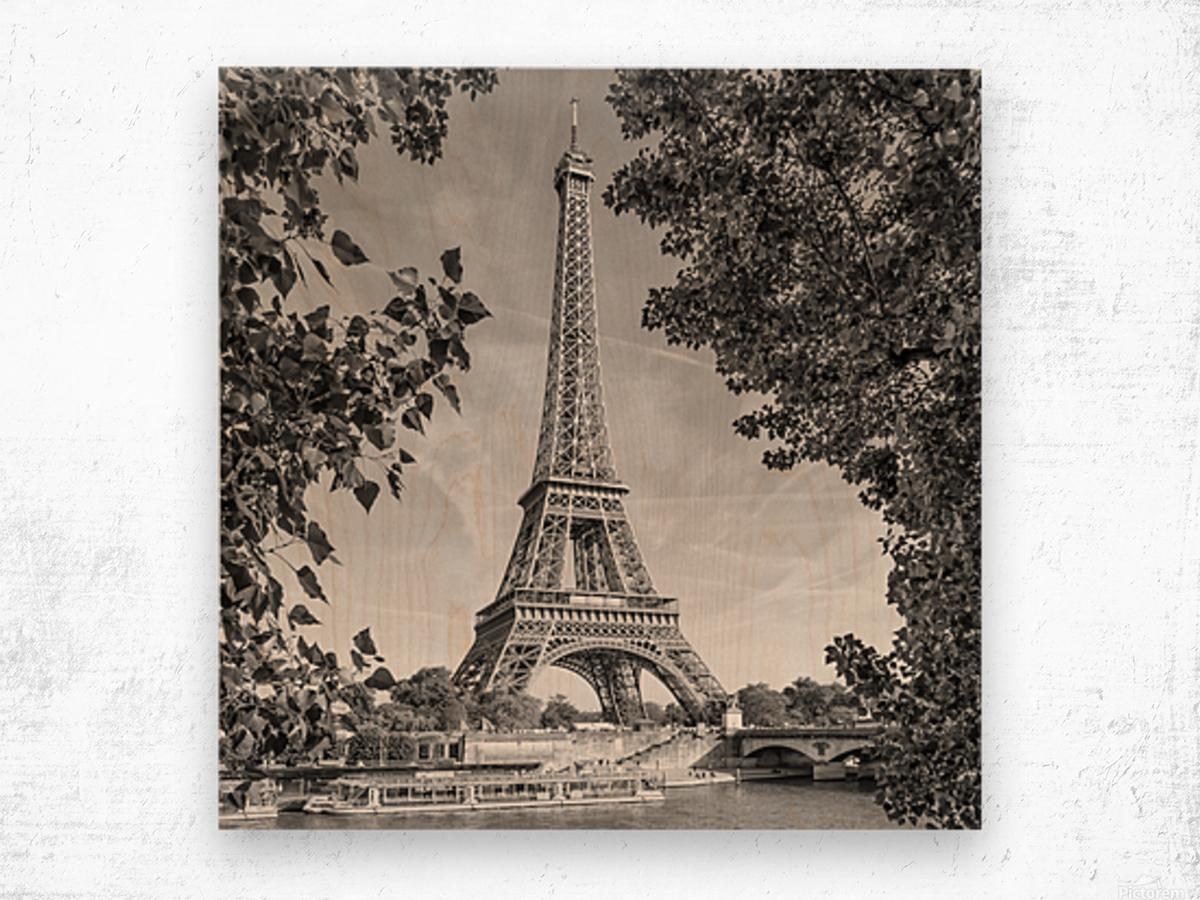 PARIS Eiffel Tower & River Seine | Monochrome Wood print