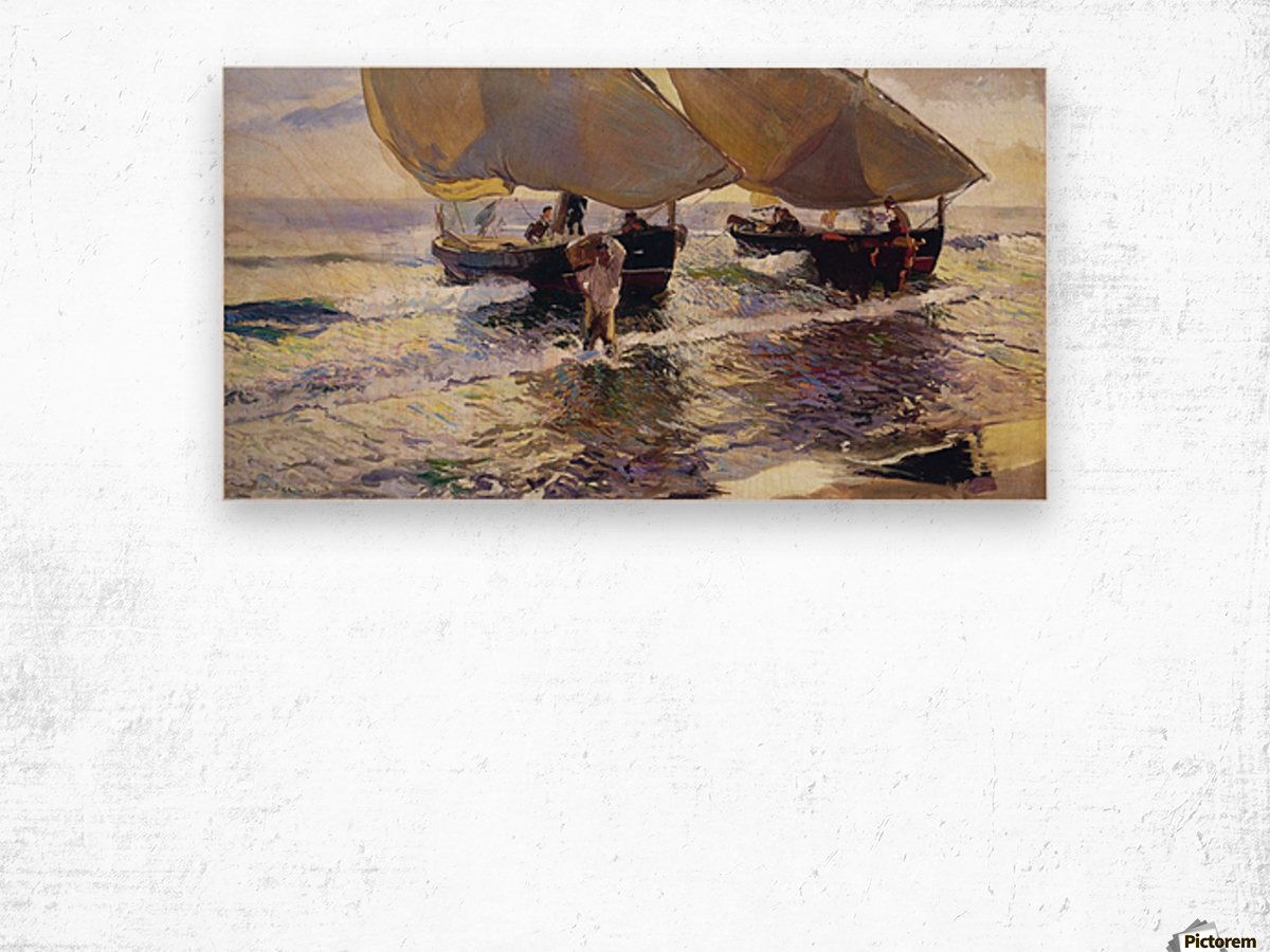 The arrival of the boats Wood print