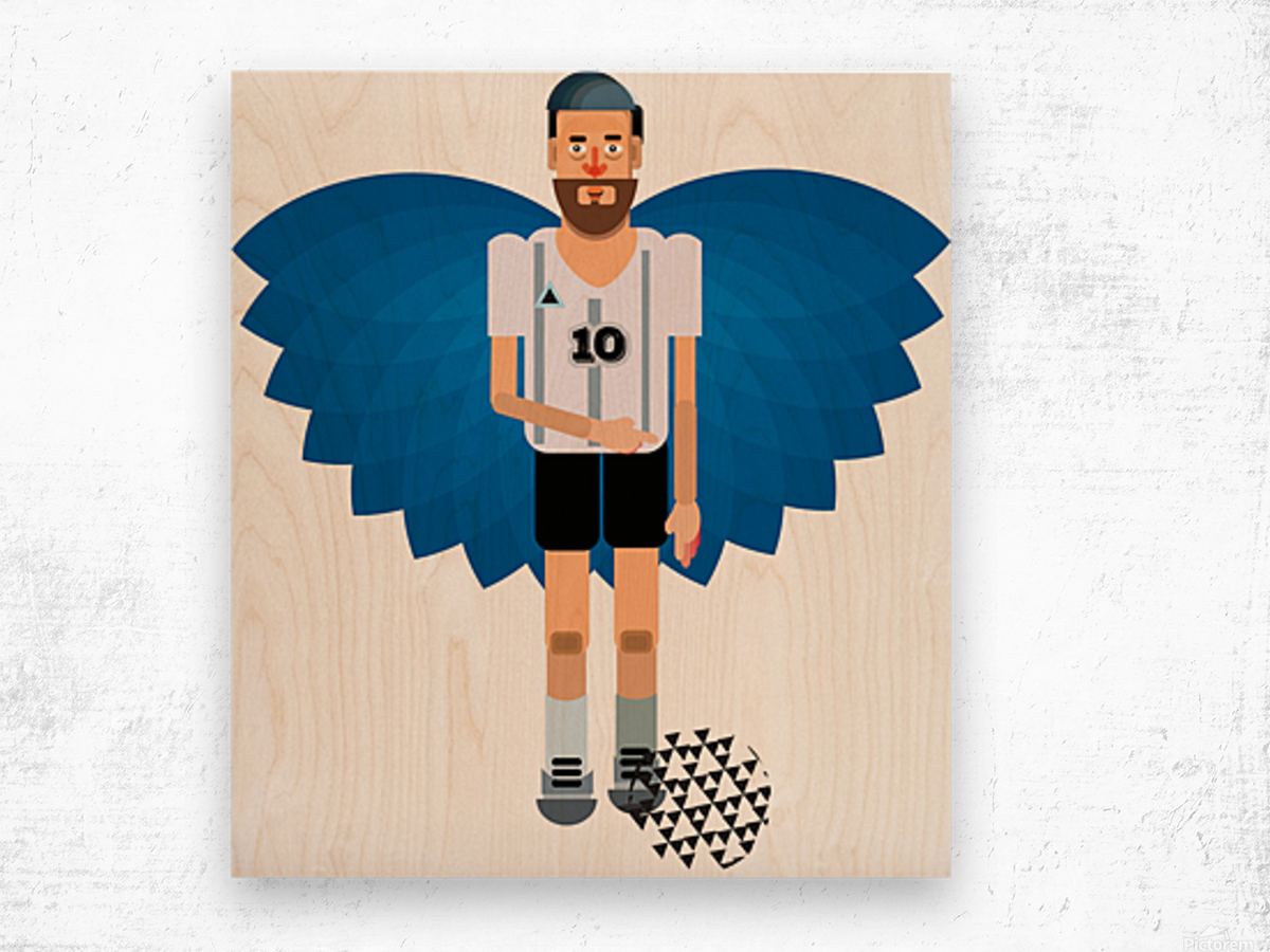 Lionel Messi illustration  Wood print