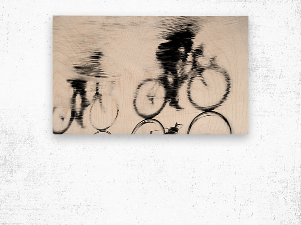 REFLECTED CYCLISTS Wood print