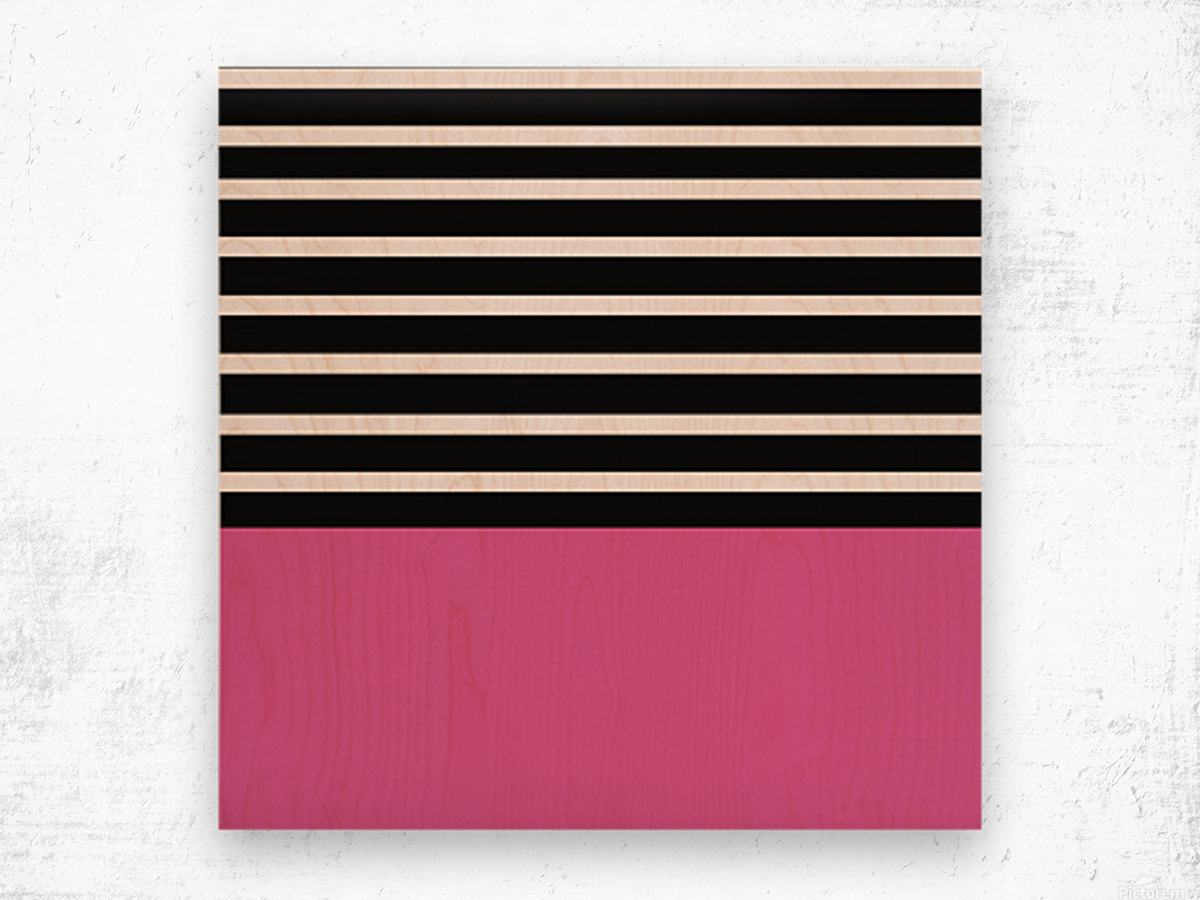 Black & White Stripes with Cranberry Patch Wood print