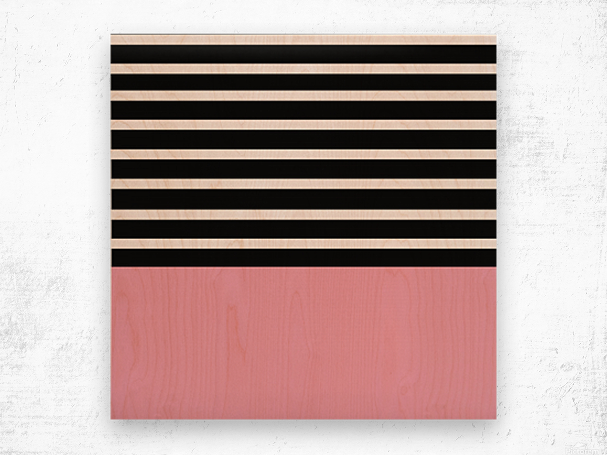 Black & White Stripes with Pacific Rose Patch Wood print