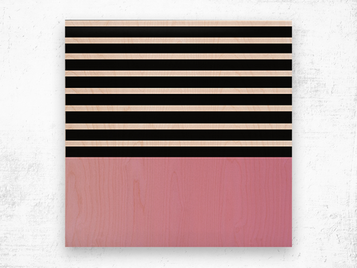 Black & White Stripes with Baby Pink Patch Wood print