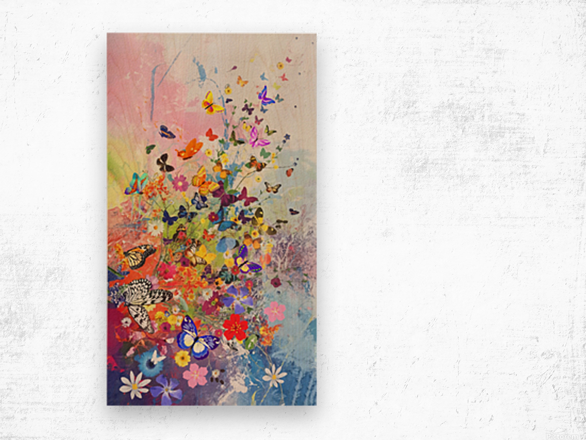 Butterflies and Flowers  Wood print