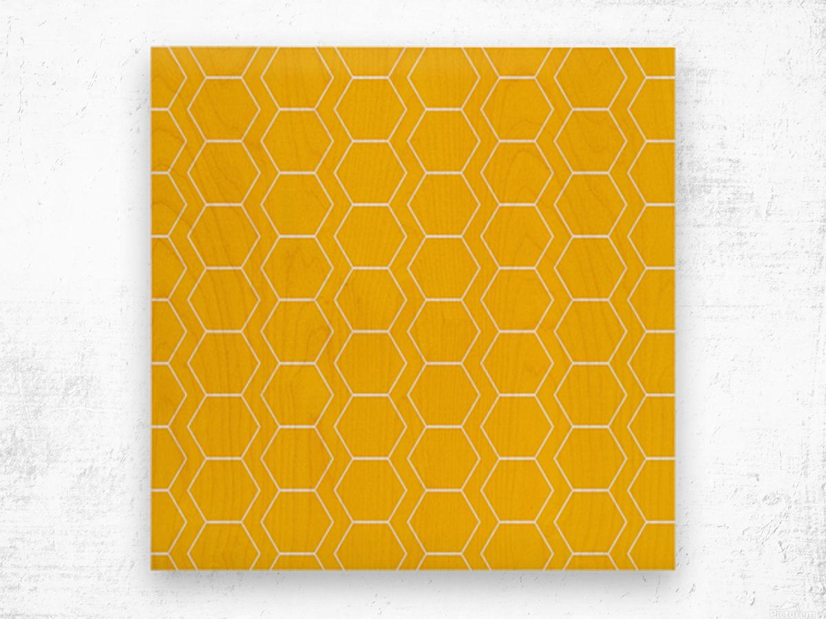 Yellow  White Hexagen Wood print