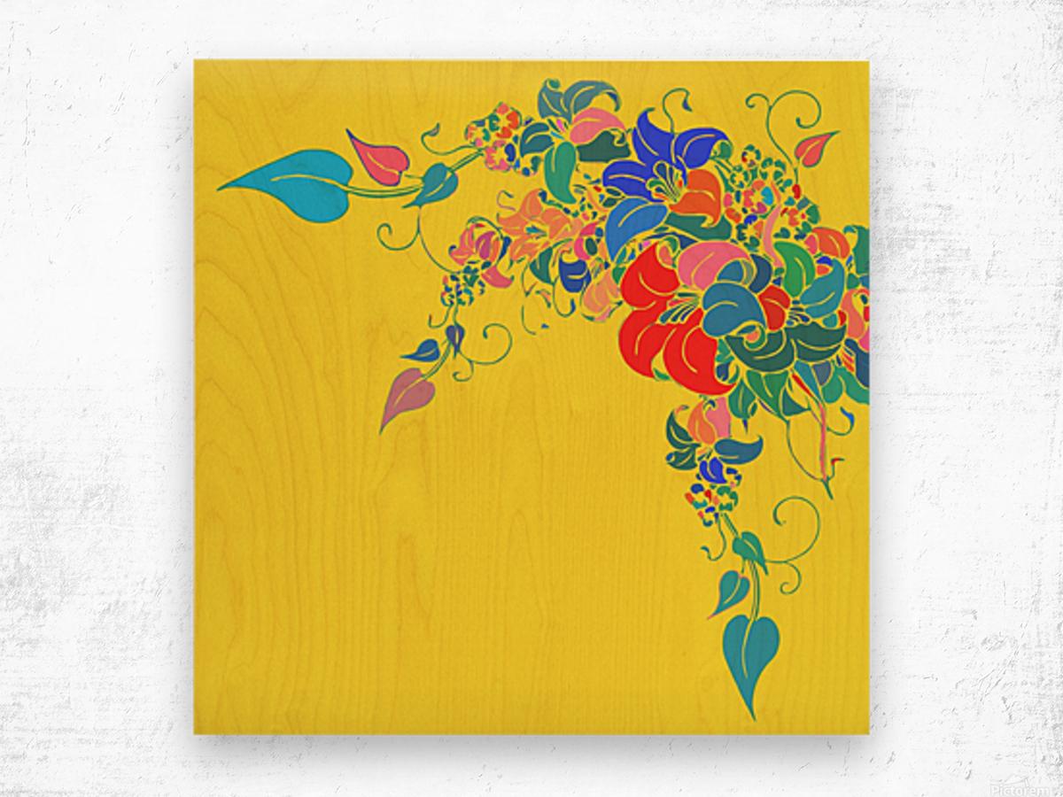 Vibrant Floral Design  Wood print