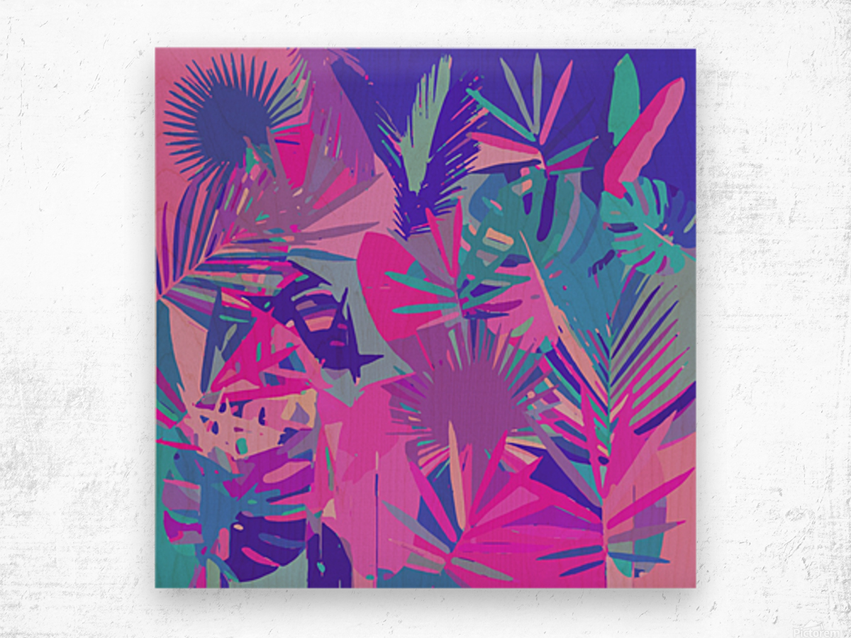 Tropical Leaves Abstract  Wood print