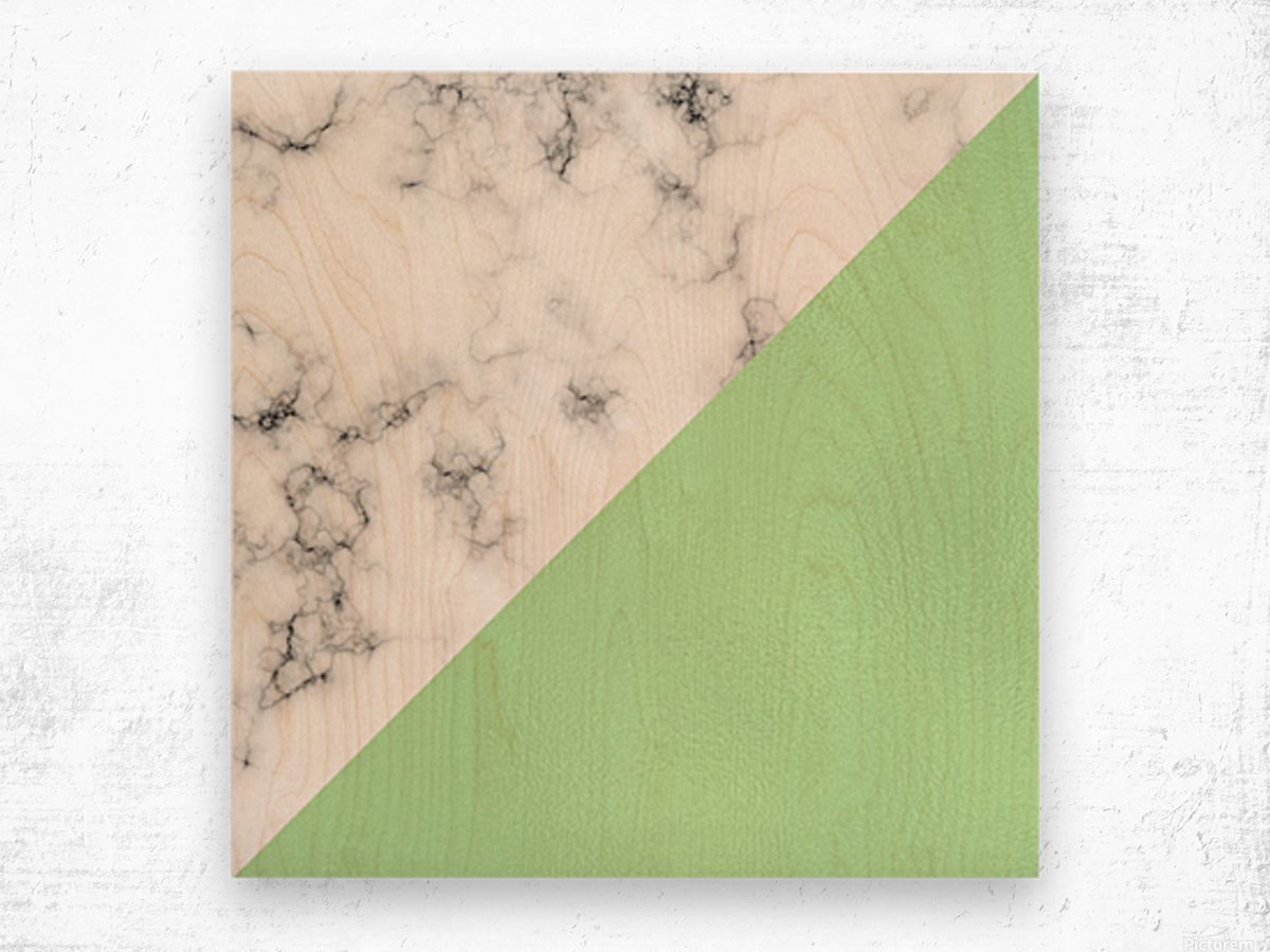 ABSTRACT MODERN GREEN GLASS MARBLE Wood print