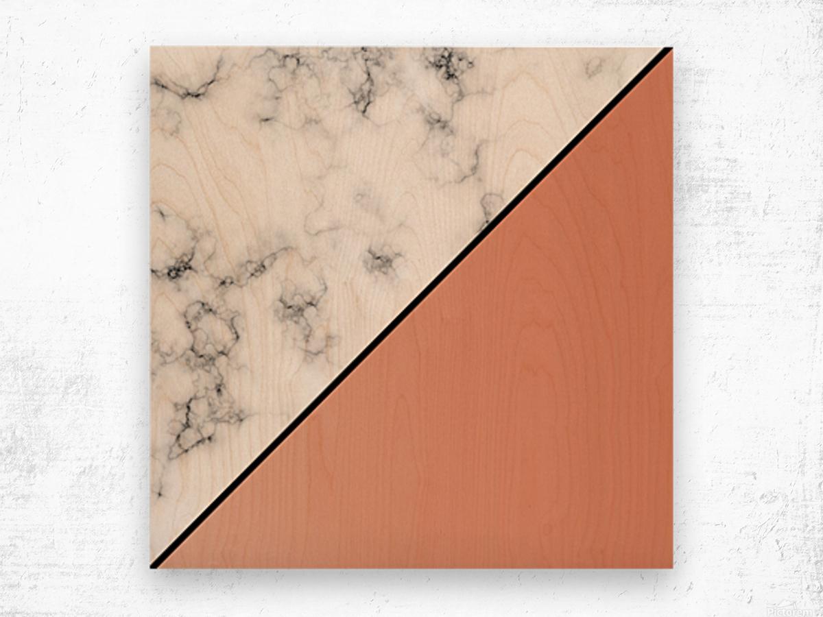 ABSTRACT MODERN ORANGE MARBLE Wood print