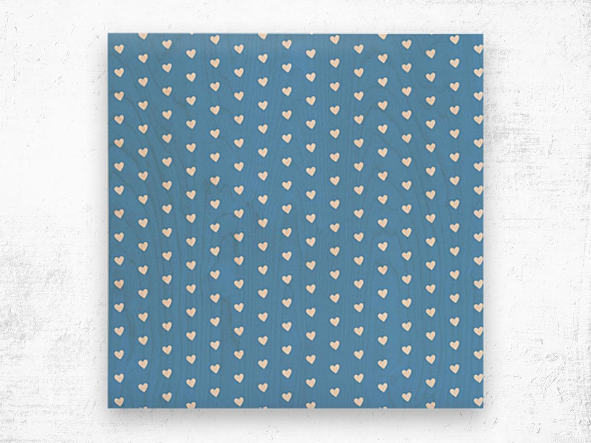 CORNFLOWER Heart Shape Pattern Wood print