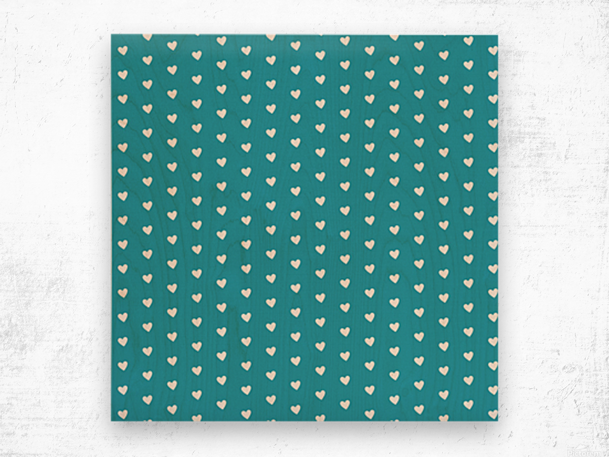 Light Sea Green Heart Shape Pattern Wood print