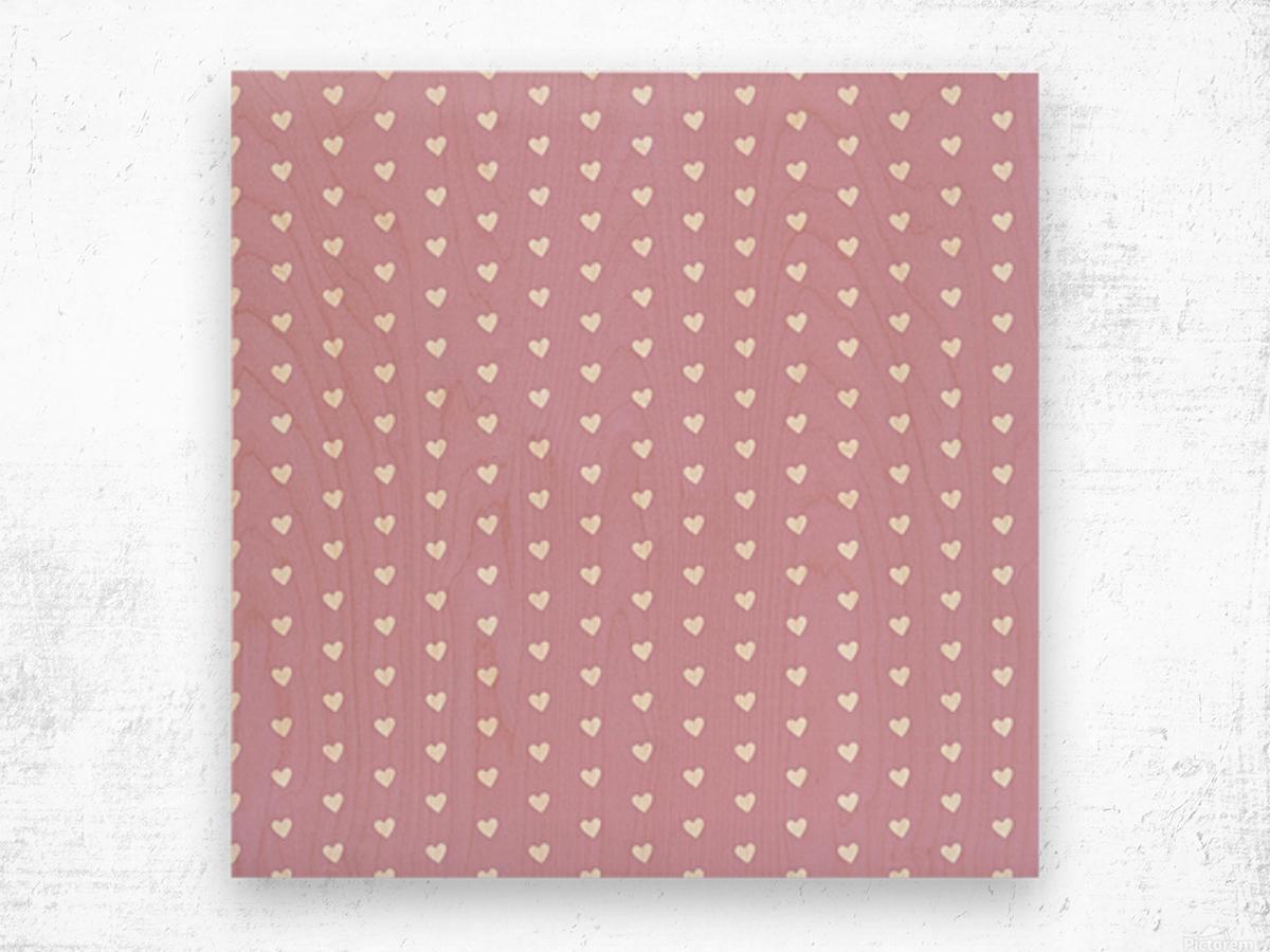 Lavender Heart Shape Pattern Wood print