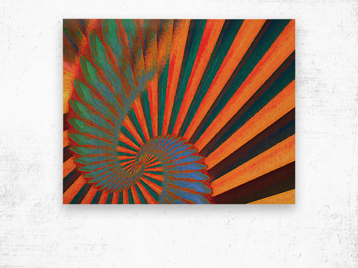 Composition in Orange Blue & Green Wood print
