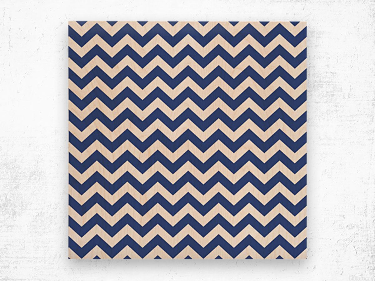ROYAL BLUE CHEVRON Wood print