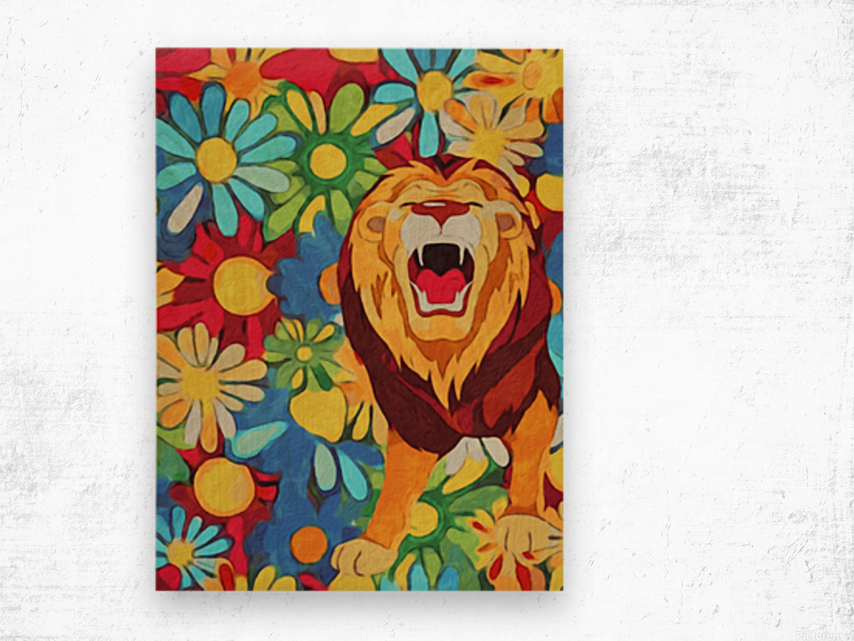 Lion and Flowers Fantasy  Wood print