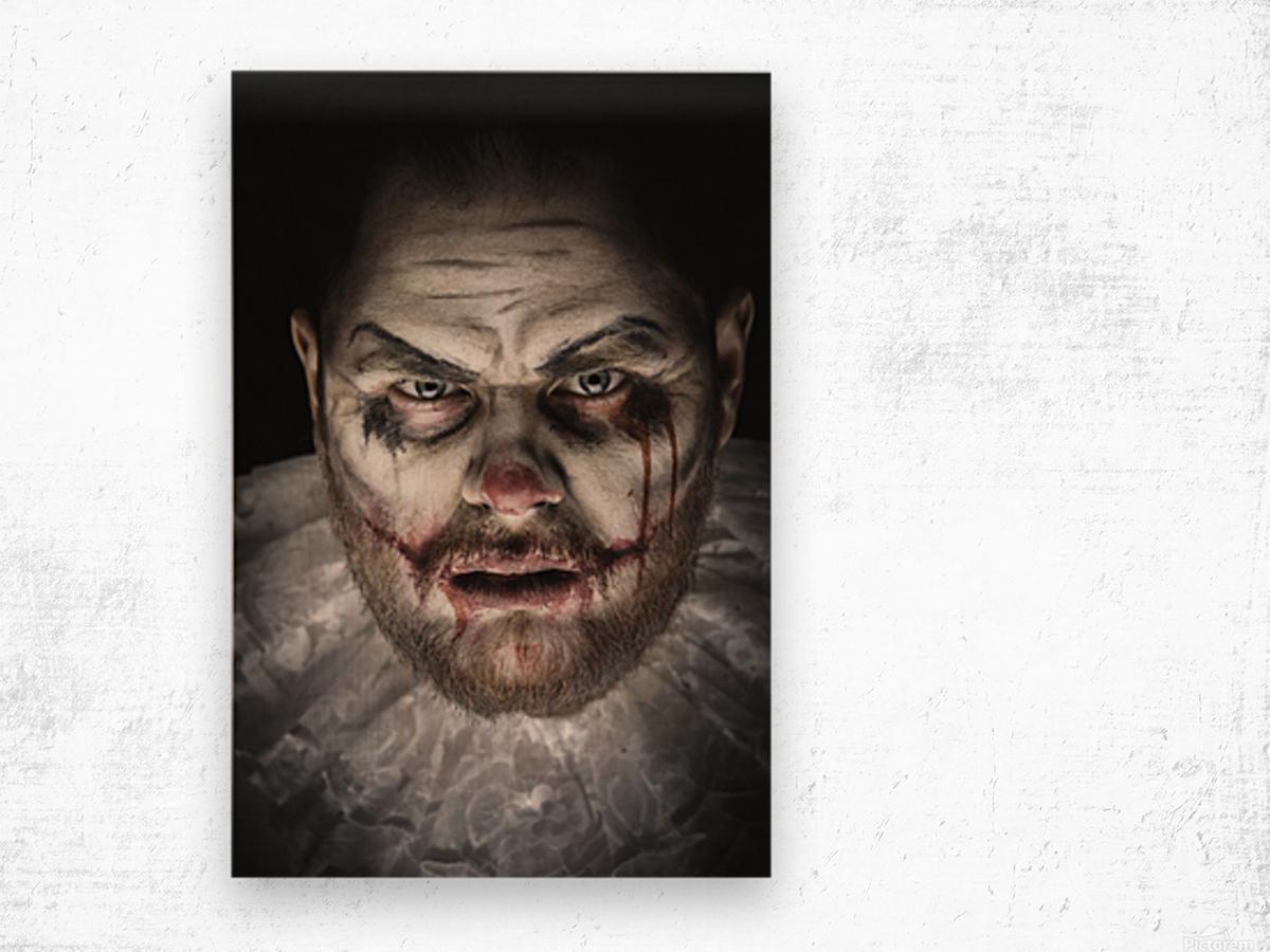 Scary Evil Clown Wood print