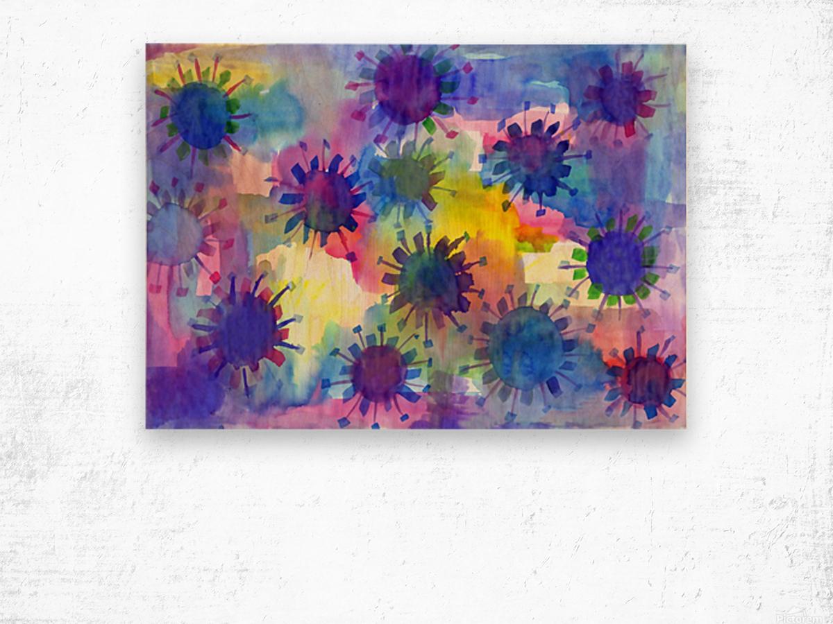 Watercolor blots Wood print