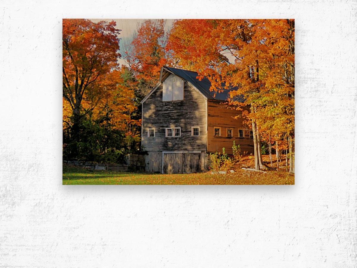 Barn in Autumn Wood print