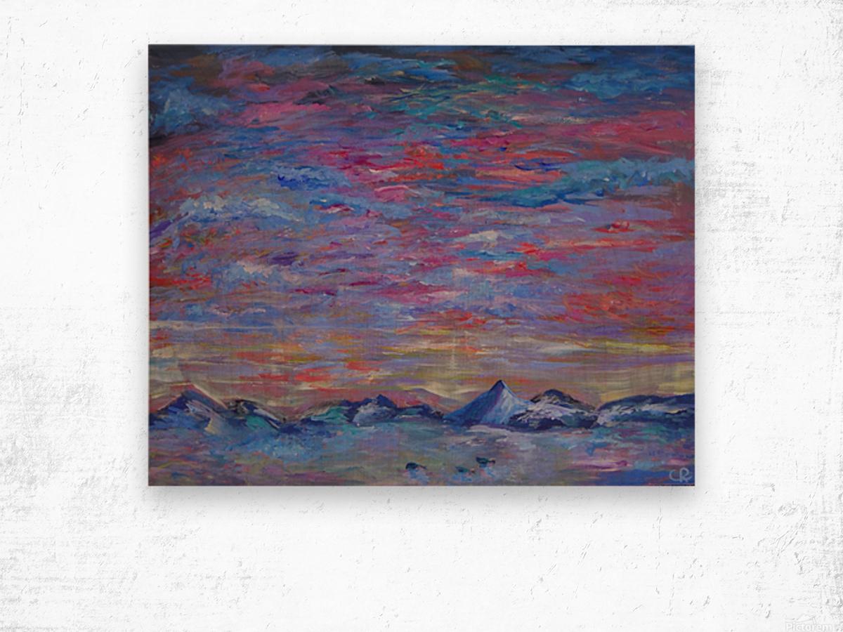 Longs Peak Winter Horizon with Waterfowl Wood print