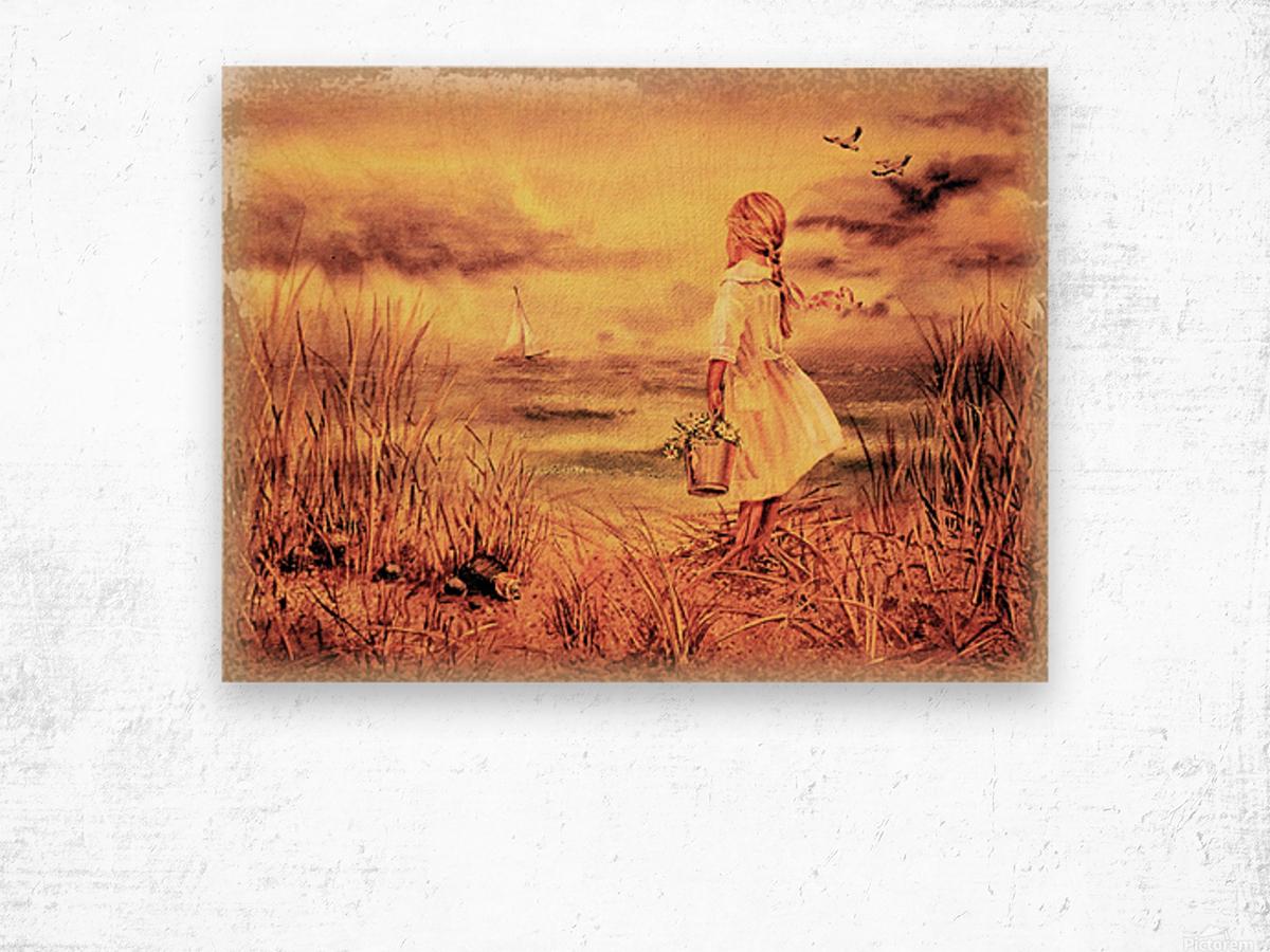 Vintage Watercolor Painting Girl And Ocean Wood print