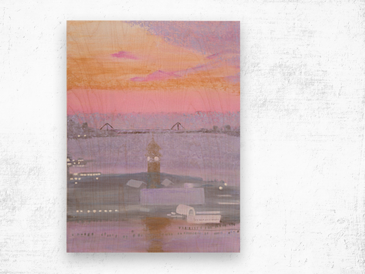 Sunrise Over New York and New Jersey Wood print