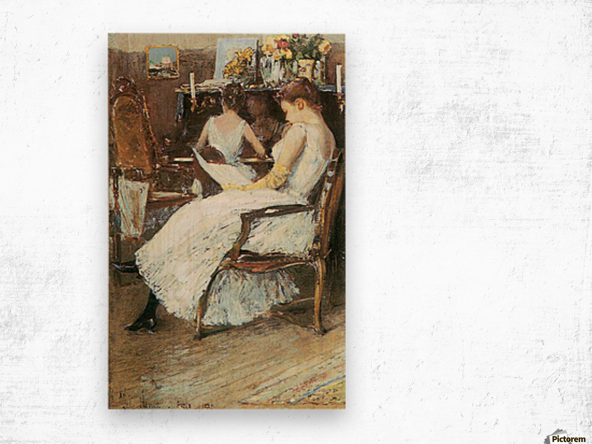 Mrs. Hassam and her sister by Hassam Wood print