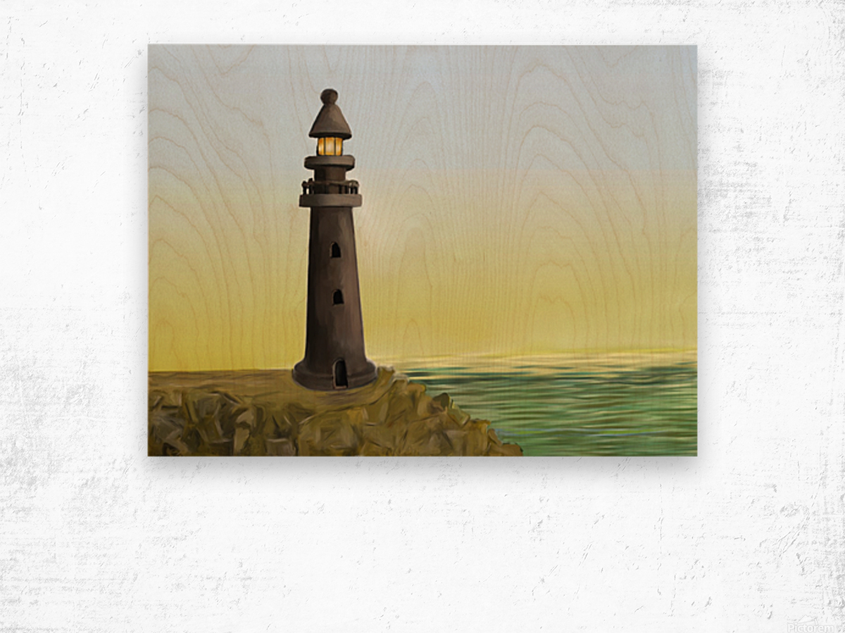 Sunset with Lighthouse Wood print