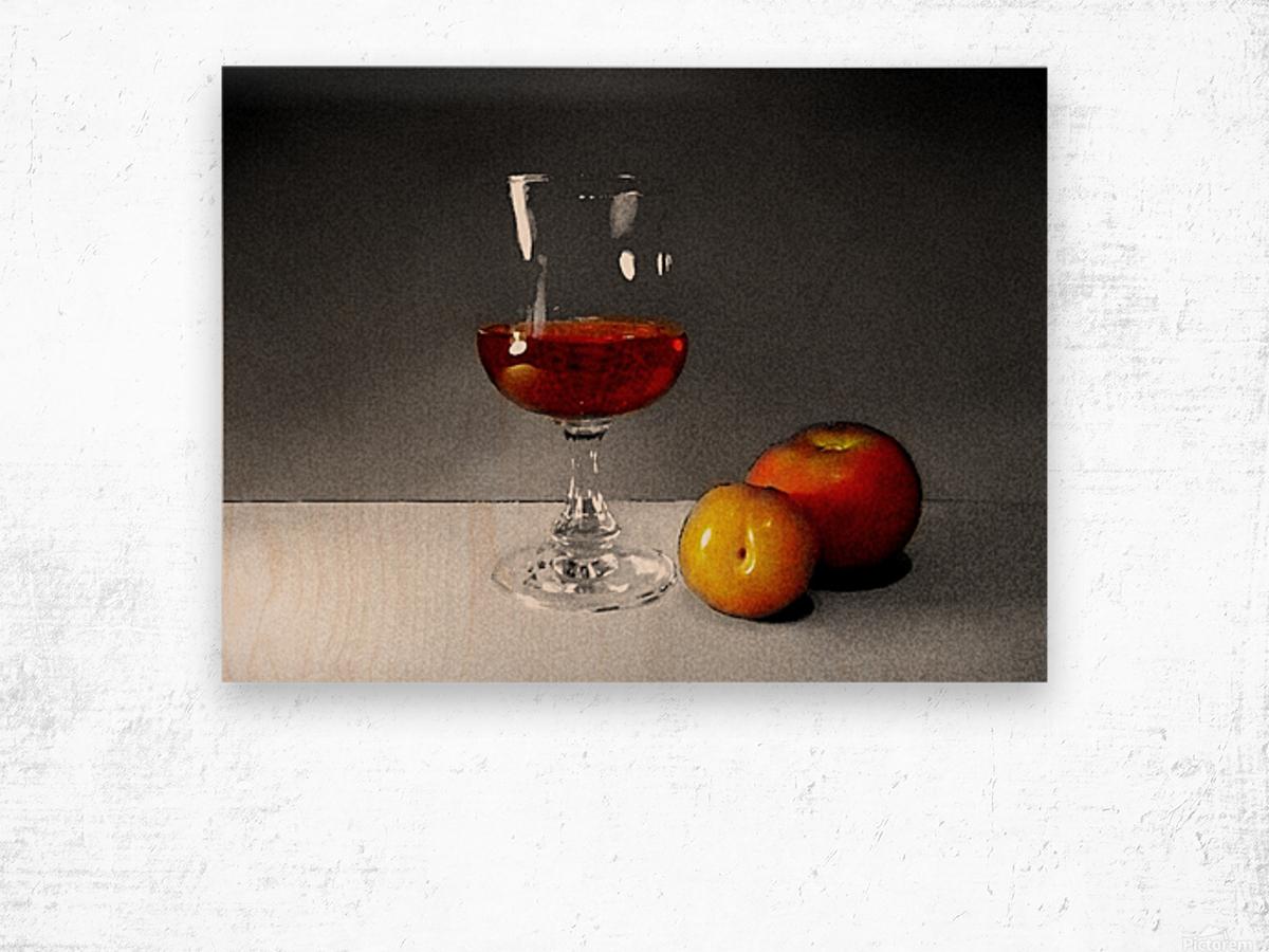 Wine and Fruits Wood print