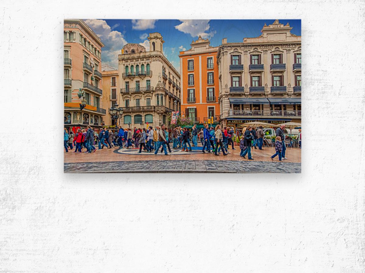 Plaza de la Boqueria Edit Wood print