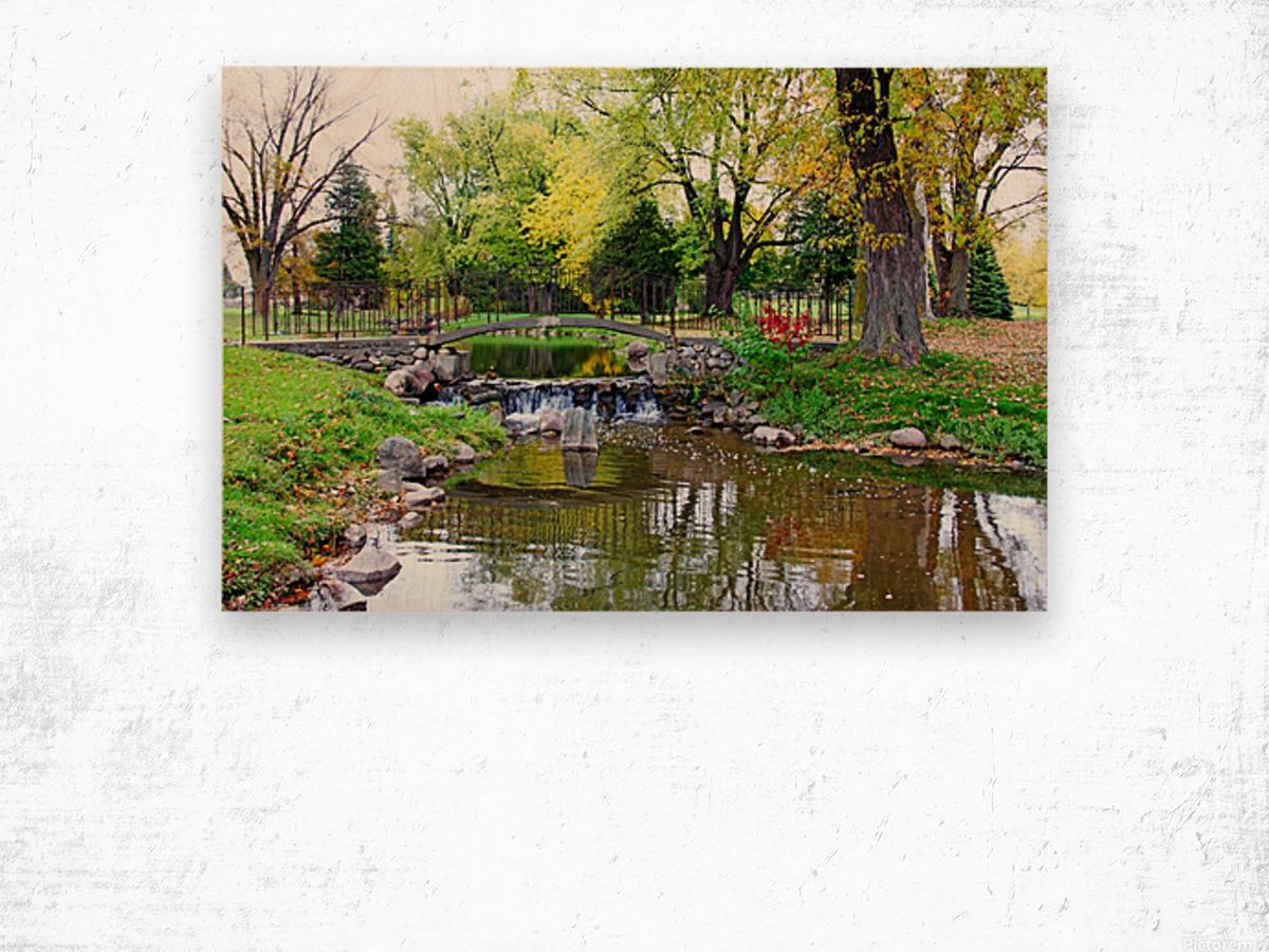 Old Iron And Stone Bridge Over Creek Wood print