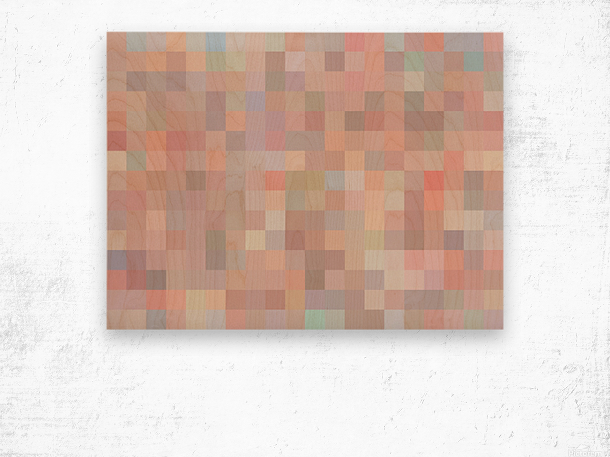 geometric square pixel pattern abstract in pink and blue Wood print