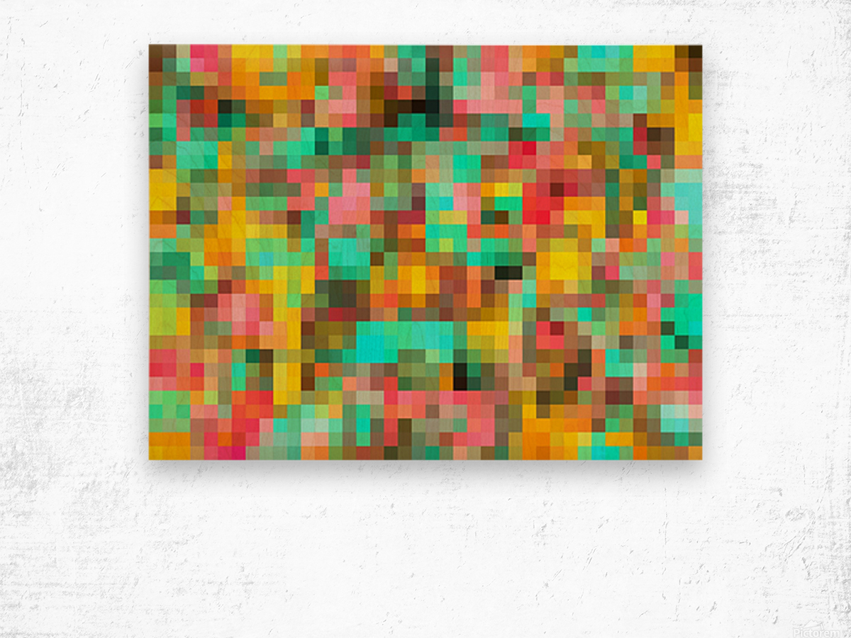 geometric square pixel pattern abstract in green yellow pink Wood print