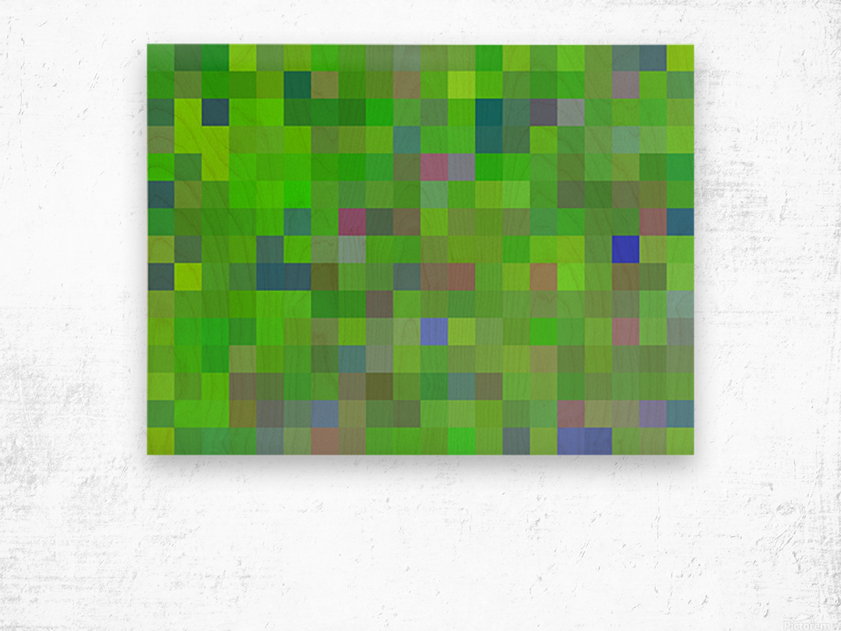 geometric square pixel pattern abstract background in green blue pink Wood print
