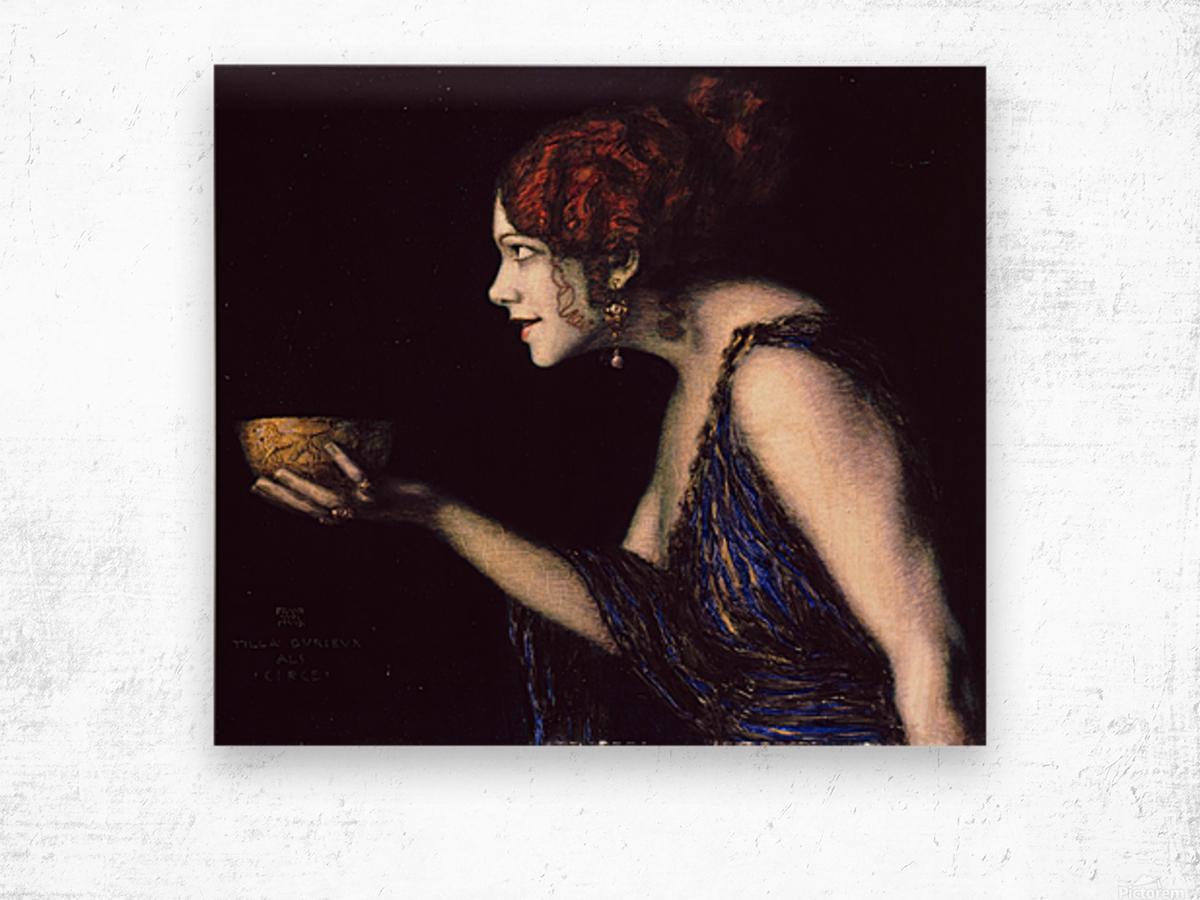 Tilla Durieux as Circe by Franz von Stuck Wood print