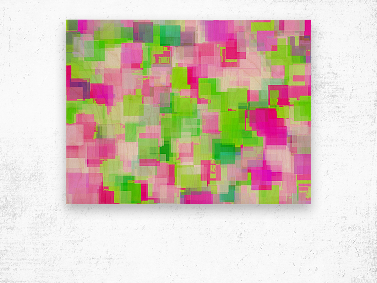 geometric square pattern abstract background in pink and green Wood print