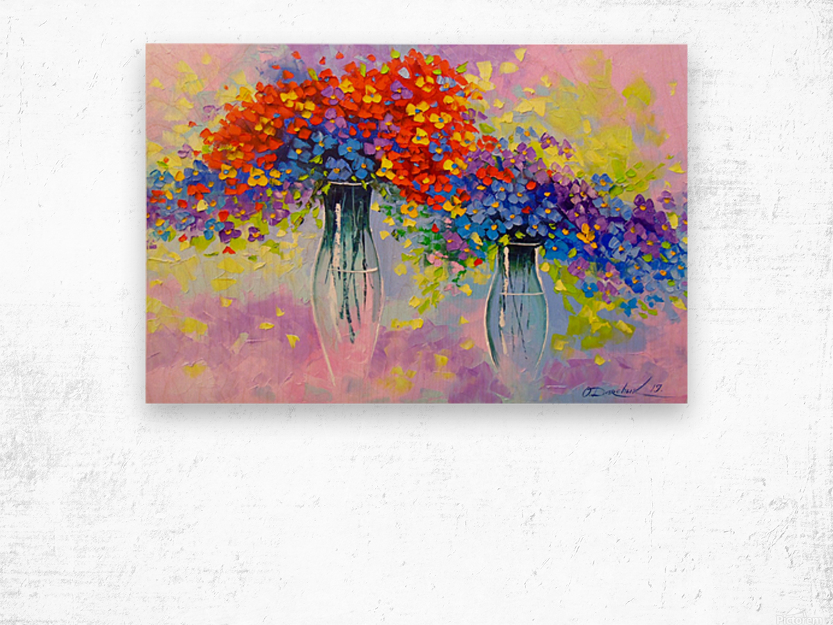 Music of multi-colored flowers Wood print