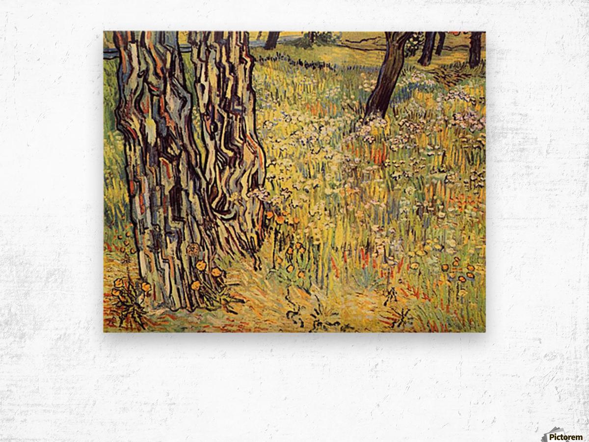 Tree trunks by Van Gogh Wood print