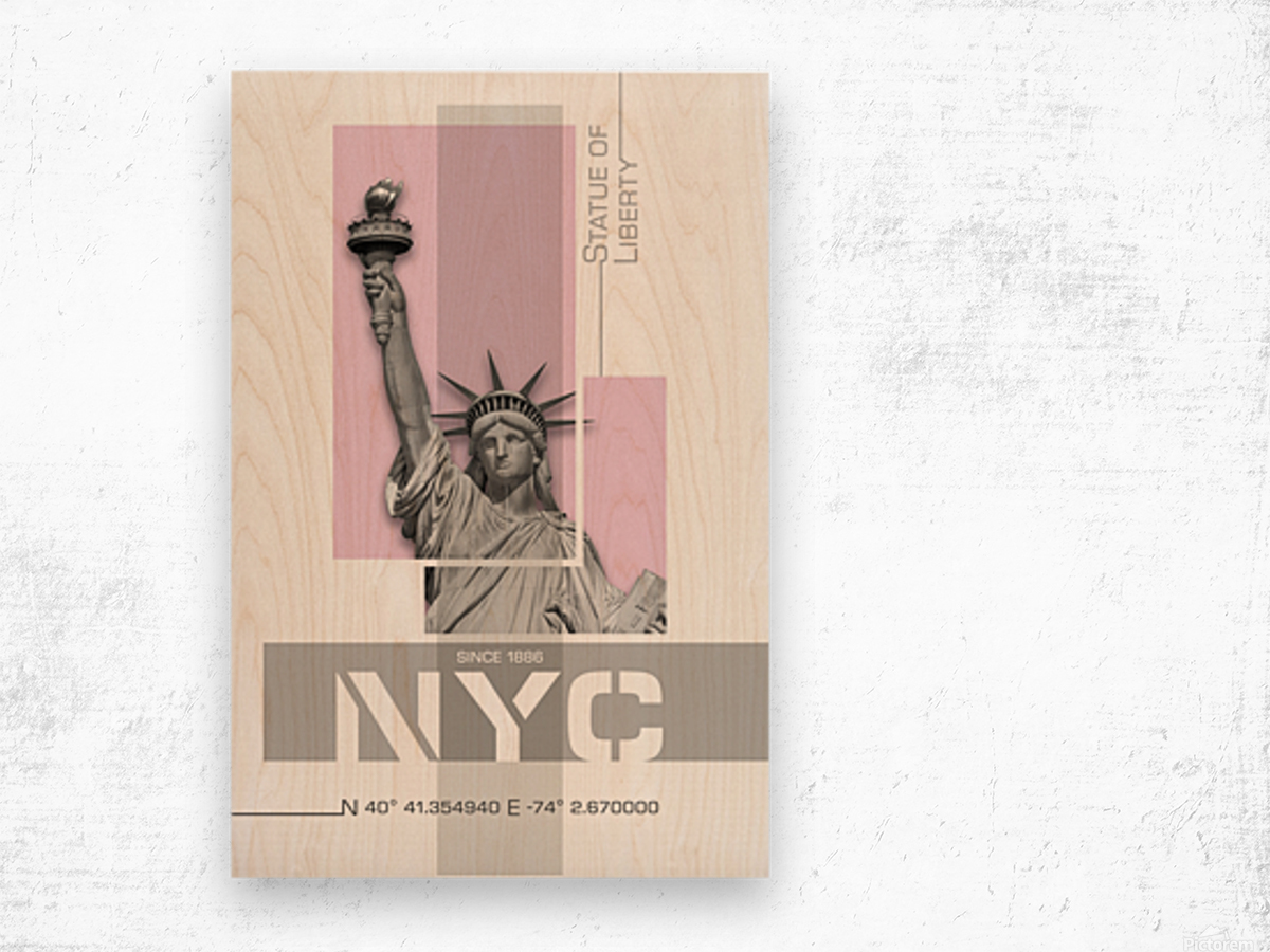 Poster Art NYC Statue of Liberty | light pink Wood print