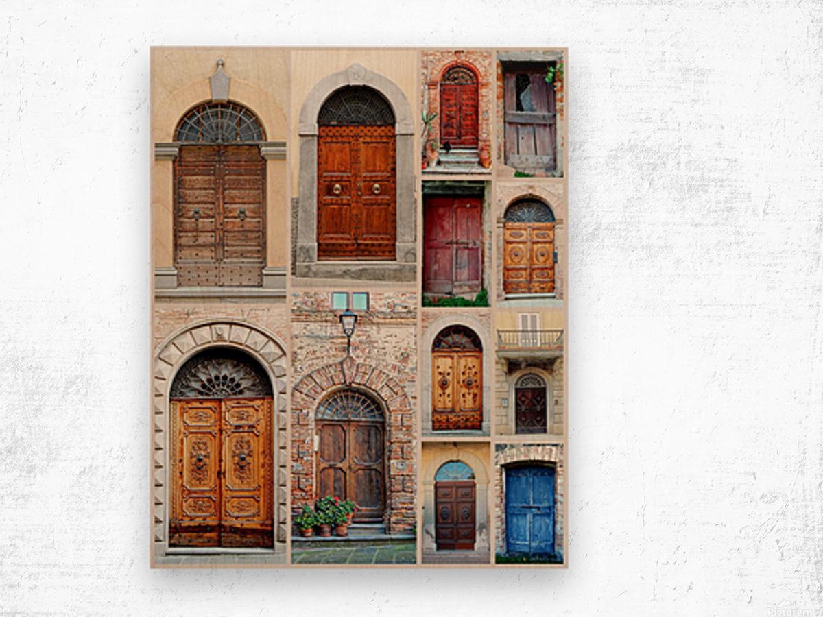 Italian Wooden Doors Collage Wood print