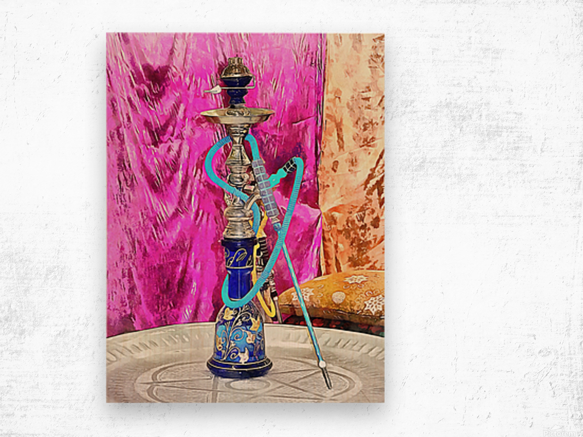 Exotic Oriental Hookah Pipe Wood print
