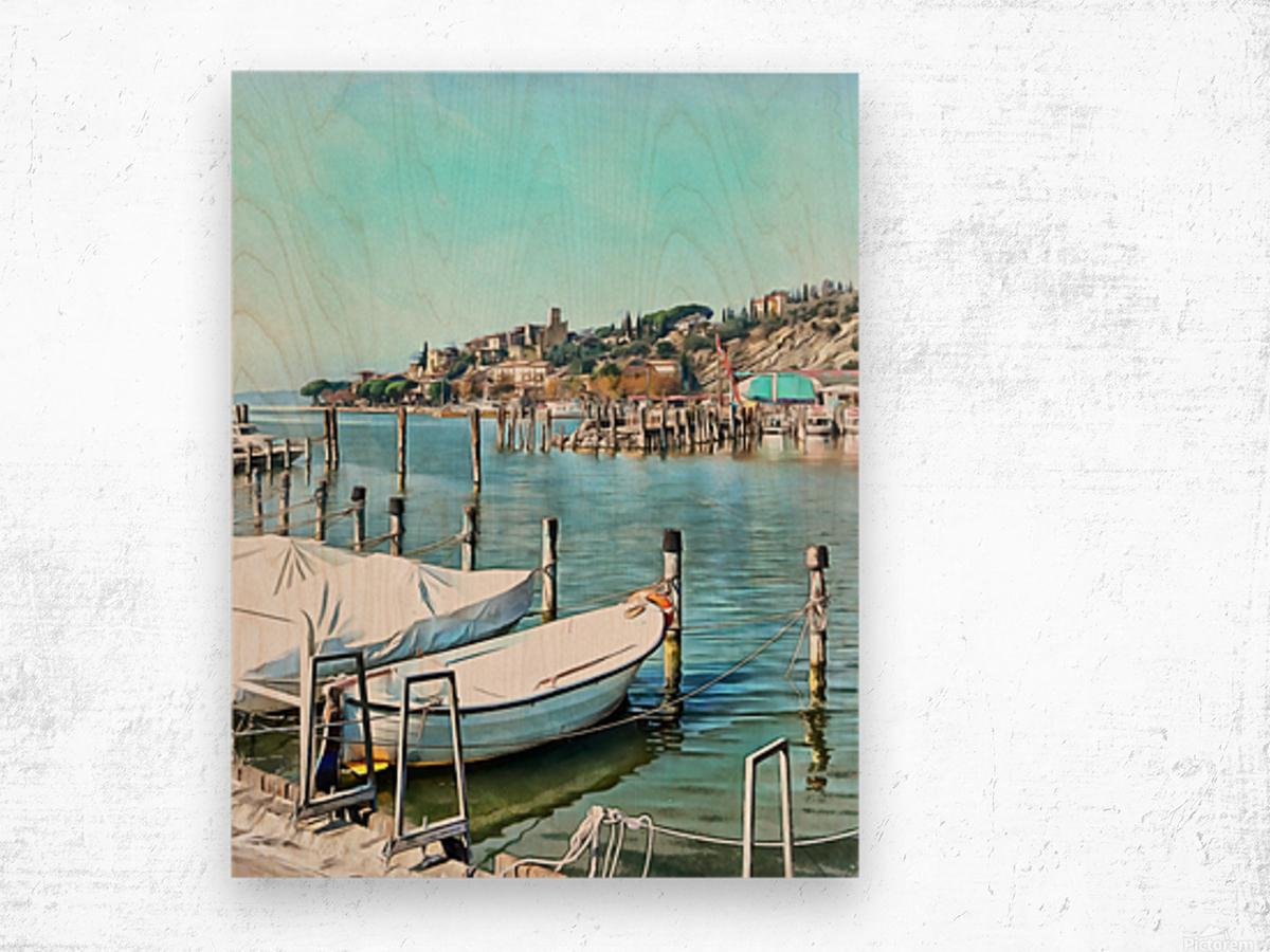 Moored Boats at Passignano Wood print