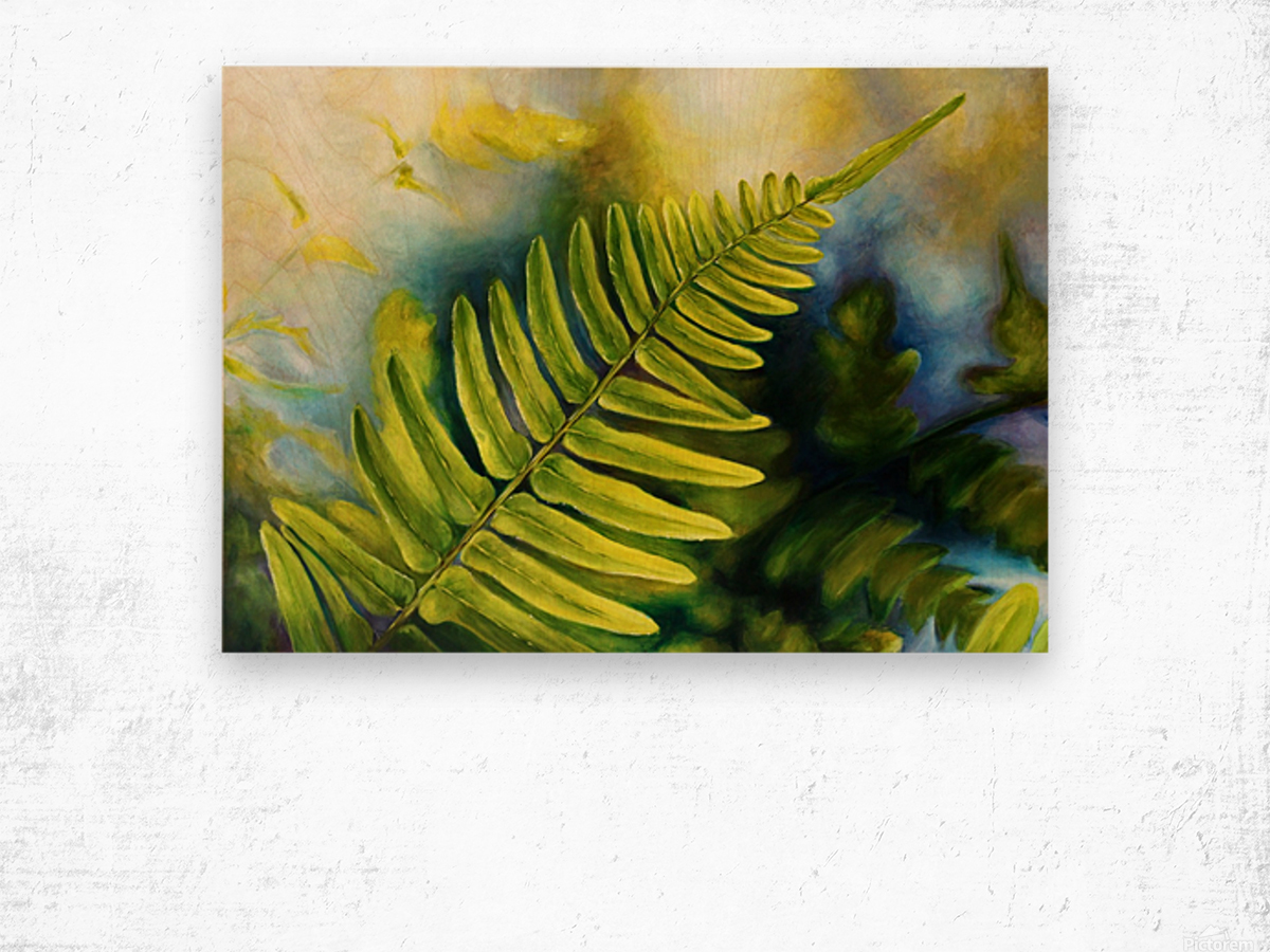 Fern Night Wood print
