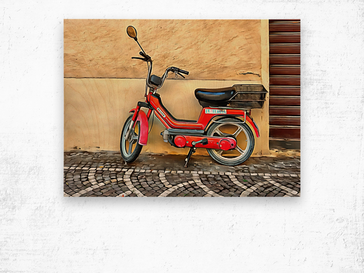 Red Piaggio Moped Wood print