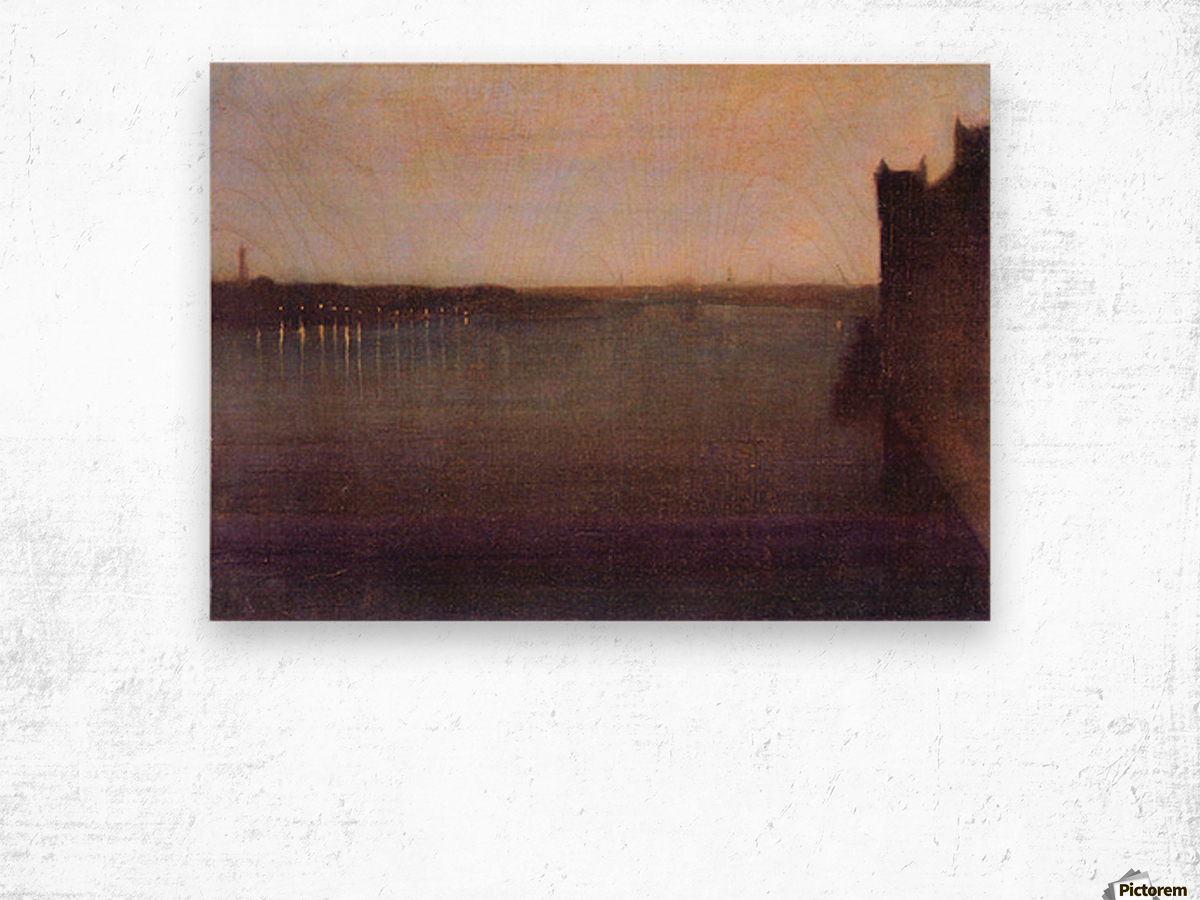 Nocturne in gray and gold, Westminster Bridge by James Abbot McNeill Whistler Wood print