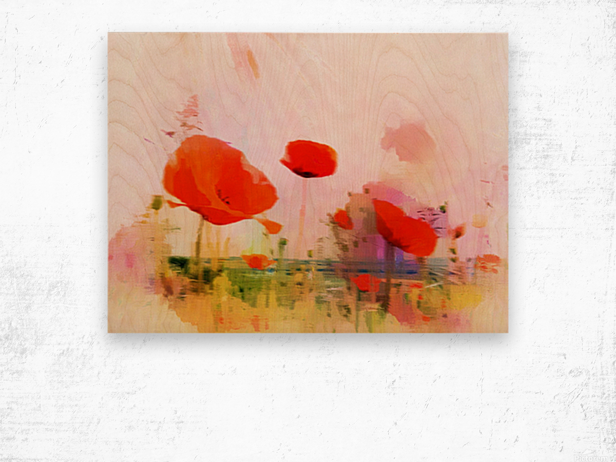 Poppies In Impression Wood print