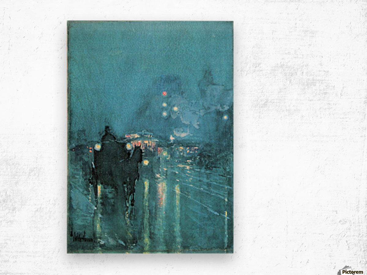 Nocturne, Railway Crossing, Chicago by Hassam Wood print