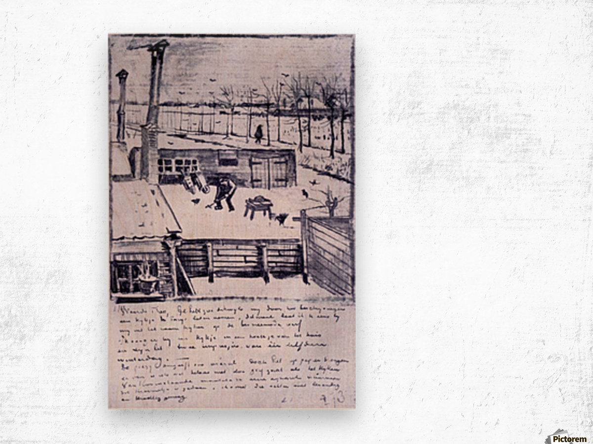 View from the window of the studio by Van Gogh Wood print