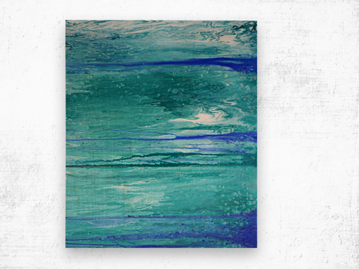 Abstract in Blues and Greens Wood print