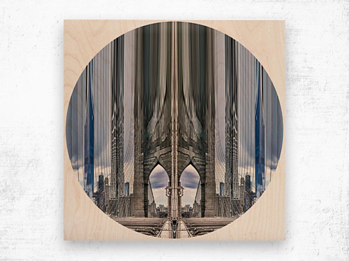 New York vue du pont de Brooklyn - rond Wood print
