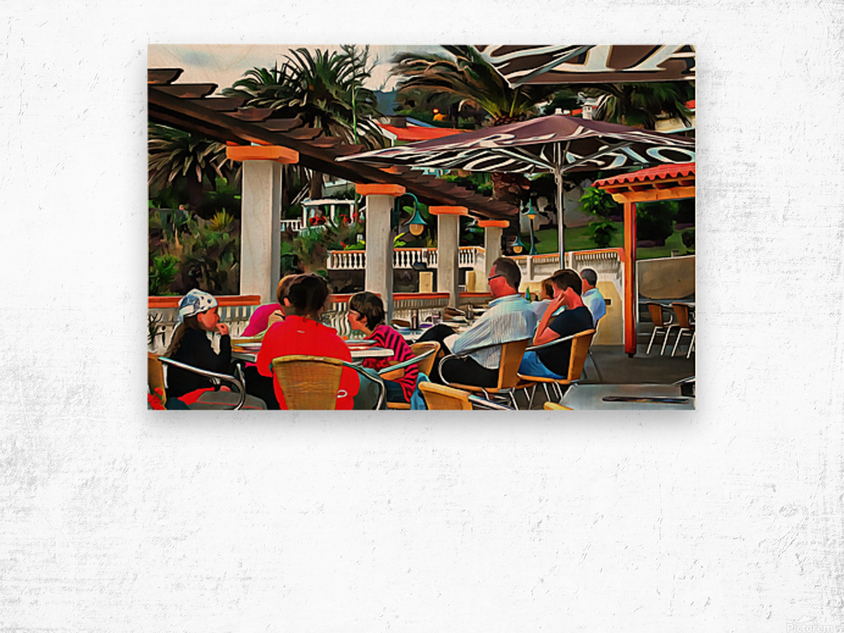Bar In Funchal Madeira Wood print